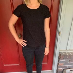Women's Black Textured Tee